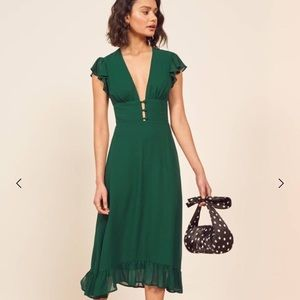 Reformation riegan dress emerald  new with tags 6